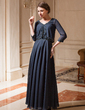 A-Line/Princess V-neck Ankle-Length Chiffon Mother of the Bride Dress With Beading (008019702)