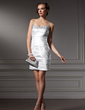 Sheath/Column Sweetheart Short/Mini Satin Cocktail Dress With Ruffle Beading (016008623)