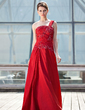 A-Line/Princess One-Shoulder Floor-Length Taffeta Mother of the Bride Dress With Ruffle Lace Sequins (008006472)