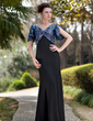 Trumpet/Mermaid V-neck Floor-Length Chiffon Sequined Mother of the Bride Dress With Ruffle Split Front (008018719)