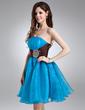 A-Line/Princess Strapless Knee-Length Organza Homecoming Dress With Ruffle Sash Beading (022021016)