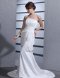 Trumpet/Mermaid Sweetheart Court Train Taffeta Wedding Dress With Ruffle Beading Appliques Lace (002000100)