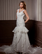 A-Line/Princess V-neck Chapel Train Satin Organza Wedding Dress With Beading Cascading Ruffles Pleated (002011460)
