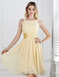 A-Line/Princess Scoop Neck Knee-Length Chiffon Bridesmaid Dress With Ruffle (007004142)