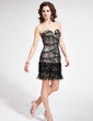 Sheath/Column Sweetheart Short/Mini Charmeuse Lace Prom Dress With Sequins (018018848)