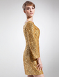 Sheath/Column Scoop Neck Short/Mini Sequined Mother of the Bride Dress (008006439)