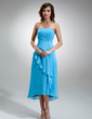 A-Line/Princess Strapless Asymmetrical Chiffon Bridesmaid Dress With Crystal Brooch Cascading Ruffles (007004987)