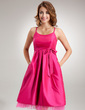 Empire Scoop Neck Knee-Length Taffeta Taffeta Maternity Bridesmaid Dress With Ruffle Bow(s) (045022458)