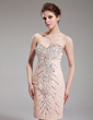 Sheath/Column Sweetheart Knee-Length Chiffon Sequined Cocktail Dress With Beading (016019190)