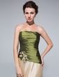 Sheath/Column Strapless Floor-Length Taffeta Mother of the Bride Dress With Ruffle Beading Flower(s) (008018726)