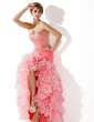 Trumpet/Mermaid Sweetheart Asymmetrical Organza Prom Dress With Ruffle Beading Sequins Split Front Cascading Ruffles (018005075)