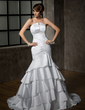 Trumpet/Mermaid Scalloped Neck Court Train Satin Wedding Dress With Ruffle Beading (002012158)