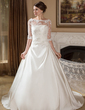 A-Line/Princess Strapless Court Train Satin Wedding Dress With Ruffle (002004756)
