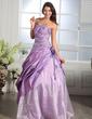 Balo Elbisesi Kalp Kesimli Uzun Etekli Taffeta Organza Quinceanera (15 Yaş) Elbisesi Ile Büzgü Boncuklama Aplike Çiçek(ler) (021005169)