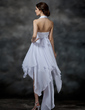 A-Line/Princess Halter Asymmetrical Chiffon Homecoming Dress With Beading Sequins Bow(s) Cascading Ruffles (022009540)