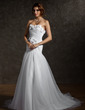 A-Line/Princess Sweetheart Chapel Train Tulle Wedding Dress With Ruffle Flower(s) Bow(s) (002012803)