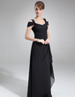 Sheath/Column Off-the-Shoulder Floor-Length Chiffon Evening Dress With Cascading Ruffles (017021117)