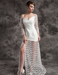 A-Line/Princess Off-the-Shoulder Court Train Lace Wedding Dress With Beading Split Front (002024084)