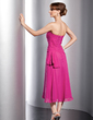 A-Line/Princess Strapless Tea-Length Chiffon Bridesmaid Dress With Ruffle (007014724)