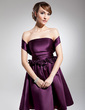 A-Line/Princess Off-the-Shoulder Knee-Length Satin Homecoming Dress With Ruffle Flower(s) (022014702)