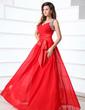 A-Line/Princess V-neck Floor-Length Chiffon Prom Dress With Ruffle Beading Bow(s) (018017374)