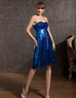 Empire Sweetheart Knee-Length Charmeuse Sequined Cocktail Dress With Bow(s) (016014846)