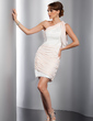 Sheath/Column One-Shoulder Short/Mini Chiffon Cocktail Dress With Ruffle (016014729)