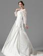 Corte A/Princesa Escote Cuadrado Cola capilla Satén Vestido de novia con Volantes Encaje Bordado (002000497)