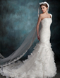 Trumpet/Mermaid One-Shoulder Chapel Train Organza Wedding Dress With Cascading Ruffles (002000623)