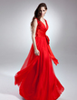 A-Line/Princess V-neck Floor-Length Chiffon Evening Dress With Ruffle Bow(s) (017015642)