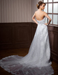 Empire Sweetheart Watteau Train Organza Wedding Dress With Ruffle Beading Appliques Lace (002000117)