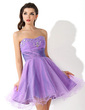 A-Line/Princess Sweetheart Short/Mini Tulle Homecoming Dress With Ruffle Beading (022021049)