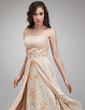 A-Line/Princess Strapless Asymmetrical Chiffon Lace Prom Dress With Ruffle Beading Sequins (018021107)