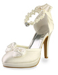 Women's Satin Cone Heel Closed Toe Platform Pumps With Bowknot Imitation Pearl Rhinestone (047005546)