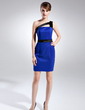 Sheath/Column One-Shoulder Short/Mini Charmeuse Cocktail Dress With Sash (008015687)