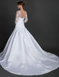 A-Line/Princess V-neck Cathedral Train Satin Wedding Dress With Lace Beading Sequins (002015367)