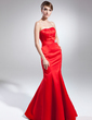 Trumpet/Mermaid Sweetheart Floor-Length Satin Evening Dress With Crystal Brooch (017015002)