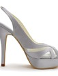 Women's Satin Stiletto Heel Pumps Sandals With Hollow-out (047039660)
