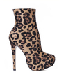 Suede Stiletto Heel Platform Boots Mid-Calf Boots With Animal Print shoes (088013882)