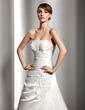 A-Line/Princess Strapless Court Train Satin Wedding Dress With Ruffle Beading Appliques Lace Sequins (002004547)