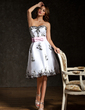 A-Line/Princess Sweetheart Knee-Length Organza Cocktail Dress With Sash Appliques Lace Bow(s) (016008333)