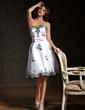 Çan/Prenses Kalp Kesimli Diz Hizası Organza Satin Kokteyl Elbisesi (016008333)