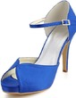 Women's Satin Stiletto Heel Peep Toe Pumps Sandals With Buckle (047039634)