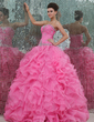 Ball-Gown Sweetheart Floor-Length Organza Quinceanera Dress With Beading Cascading Ruffles (021017441)