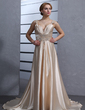 A-Line/Princess V-neck Court Train Charmeuse Wedding Dress With Ruffle Beading Appliques Lace Sequins (002012014)