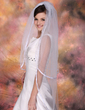 Two-tier Waltz Bridal Veils With Ribbon Edge (006020344)
