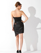 Sheath/Column Strapless Asymmetrical Charmeuse Cocktail Dress With Ruffle Lace (016021220)