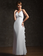 A-Line/Princess V-neck Ankle-Length Chiffon Evening Dress With Beading Cascading Ruffles (017020735)