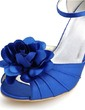 Women's Satin Stiletto Heel Peep Toe Sandals With Buckle Satin Flower (047039625)