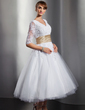 A-Line/Princess V-neck Tea-Length Tulle Wedding Dress With Sash Beading Appliques Lace (002014739)